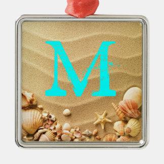 Ornamento de la inicial del monograma de Hawaii de Adorno Navideño Cuadrado De Metal