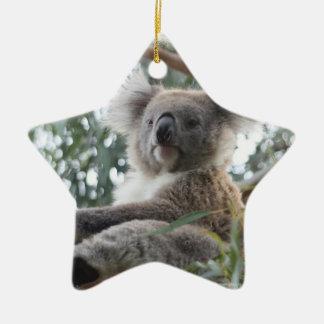 Ornamento de la koala adorno navideño de cerámica en forma de estrella