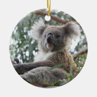 Ornamento de la koala adorno navideño redondo de cerámica