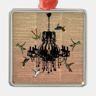 Ornamento de la lámpara del colibrí de la página adorno navideño cuadrado de metal