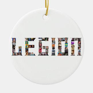 Ornamento de la legión adorno navideño redondo de cerámica
