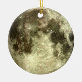 Ornamento de la Luna Llena Adorno Navideño Redondo De Cerámica