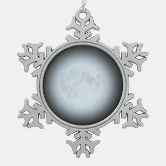 Ornamento de la Luna Llena para Yule Adorno De Peltre En Forma De Copo De Nieve