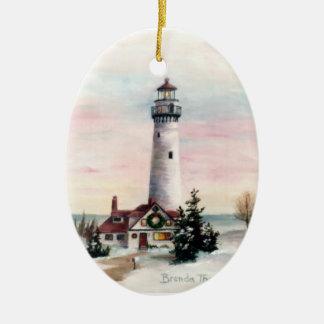 Ornamento de la luz de navidad adorno navideño ovalado de cerámica