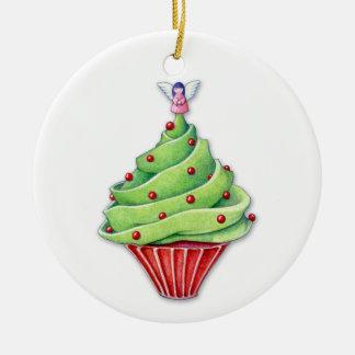 Ornamento de la magdalena del árbol de navidad adorno navideño redondo de cerámica