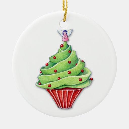 Ornamento de la magdalena del árbol de navidad adorno redondo de cerámica
