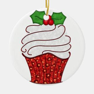 Ornamento de la magdalena del navidad en rojo adorno navideño redondo de cerámica
