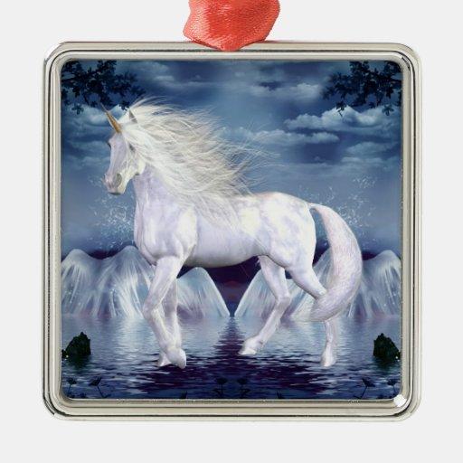 Ornamento de la magia del unicornio adorno navideño cuadrado de metal