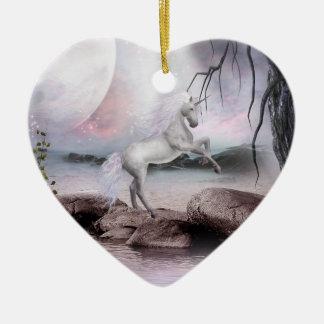 Ornamento de la magia del unicornio adorno de cerámica en forma de corazón