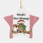 Ornamento de la mamá del mundo del oso de peluche  ornamento para arbol de navidad