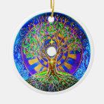 Ornamento de la mandala de la Luna Llena Adorno Navideño Redondo De Cerámica