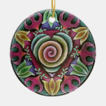 Ornamento de la mandala del corazón del día de adorno navideño redondo de cerámica