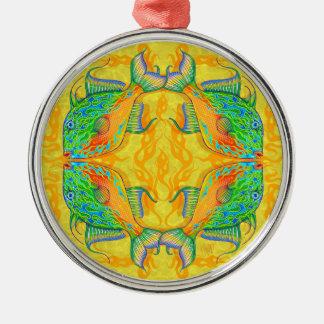 Ornamento de la mandala del Triggerfish de la Adorno Navideño Redondo De Metal