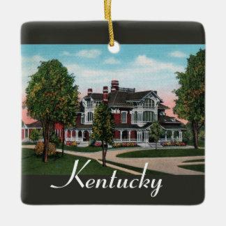 Ornamento de la mansión de Kentucky Adorno Navideño Cuadrado De Cerámica