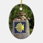 Ornamento de la marca de la manera de Shell Adorno Navideño Ovalado De Cerámica