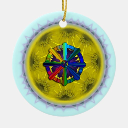 Ornamento de la margarita de la rueda de Dharma Adorno Redondo De Cerámica