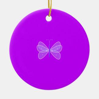 Ornamento de la mariposa adorno navideño redondo de cerámica