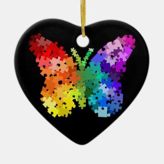 Ornamento de la mariposa del rompecabezas de la adorno navideño de cerámica en forma de corazón