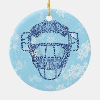 Ornamento de la máscara del colector del softball adorno navideño redondo de cerámica