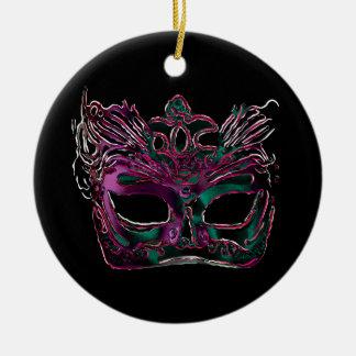 Ornamento de la mascarada adorno navideño redondo de cerámica