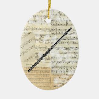 Ornamento de la música de la flauta del vintage adorno navideño ovalado de cerámica