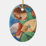 Ornamento de la música del ángel adorno ovalado de cerámica