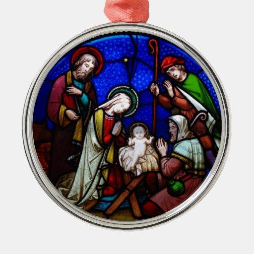 Ornamento de la natividad adorno redondo plateado