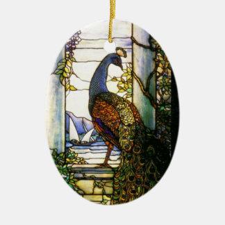 Ornamento de la naturaleza del vitral de Tiffany Adorno Navideño Ovalado De Cerámica