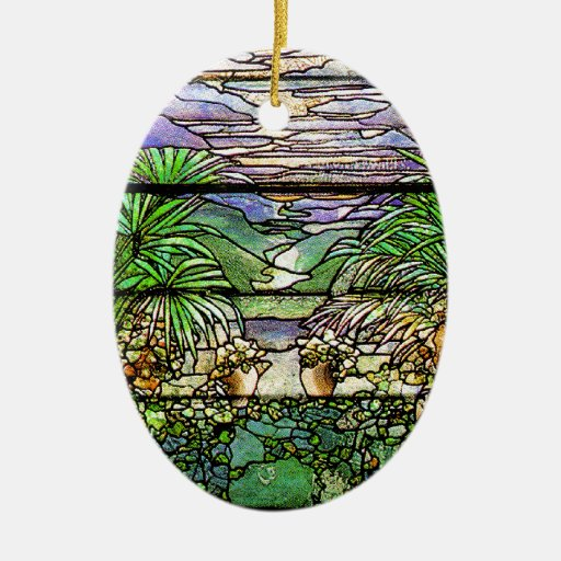 Ornamento de la naturaleza del vitral de Tiffany Ornamentos De Navidad