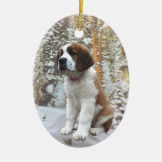 Ornamento de la nieve del invierno adorno navideño ovalado de cerámica