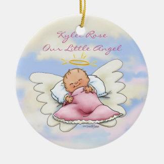 Ornamento de la niña del ángel adorno navideño redondo de cerámica