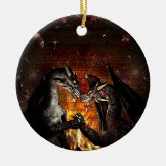 Ornamento de la Nochebuena de un dragón Adorno Navideño Redondo De Cerámica