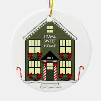 Ornamento de la nueva casa adorno navideño redondo de cerámica