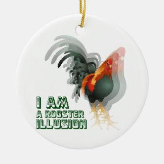 Ornamento de la original de la ilusión del gallo adorno navideño redondo de cerámica