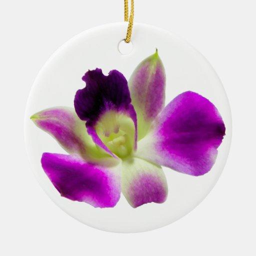 Ornamento de la orquídea adorno redondo de cerámica