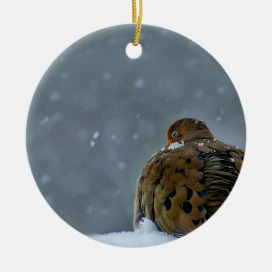 Ornamento de la paloma adorno navideño redondo de cerámica