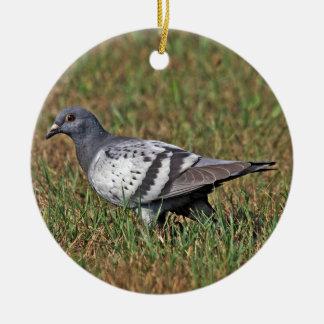 Ornamento de la paloma de roca adorno navideño redondo de cerámica