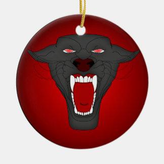 Ornamento de la pantera del rugido adorno navideño redondo de cerámica