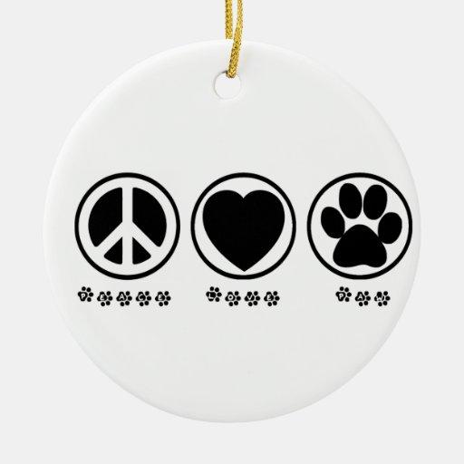 Ornamento de la pata del amor de la paz adorno