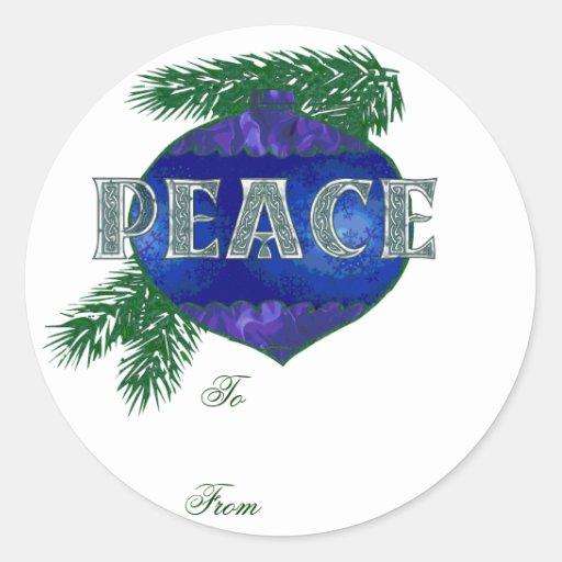 Ornamento de la paz pegatina redonda