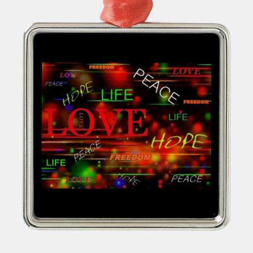 Ornamento de la paz y del amor adorno cuadrado plateado
