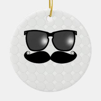 Ornamento de la pelota de golf del bigote adorno navideño redondo de cerámica