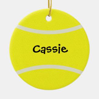Ornamento de la pelota de tenis adorno navideño redondo de cerámica