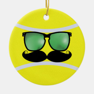 Ornamento de la pelota de tenis del bigote adorno navideño redondo de cerámica