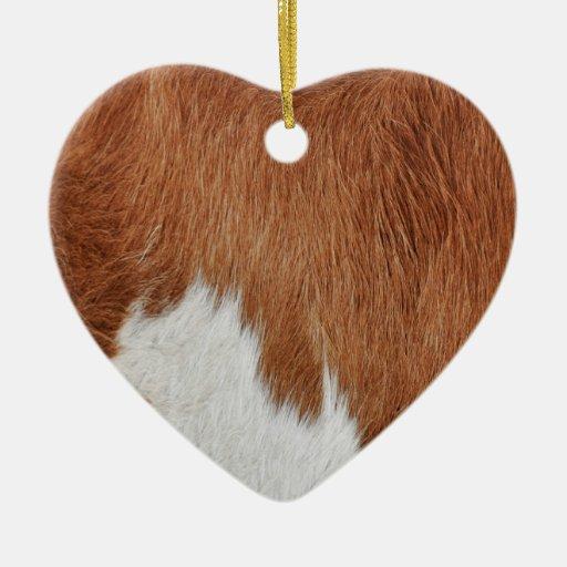 Ornamento de la piel de la vaca adorno de cerámica en forma de corazón