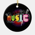 Ornamento de la pintada de la música ornaments para arbol de navidad