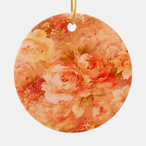 Ornamento de la pintura de la flor adorno redondo de cerámica