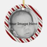 Ornamento de la plantilla de la foto del bastón de ornamento de navidad