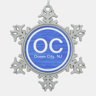 Ornamento de la playa de la ciudad NJ del océano Adorno De Peltre En Forma De Copo De Nieve