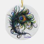 Ornamento de la pluma del pavo real ornamento para arbol de navidad
